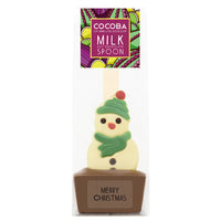 Christmas Snowman Milk Chocolate Hot Chocolate Spoon_Green_wrapped