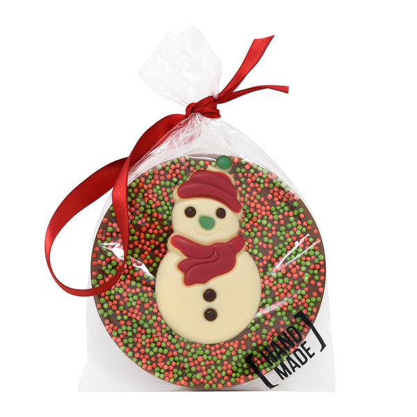 Christmas Snowman Milk Chocolate Tree Hanger_Red_wrapped