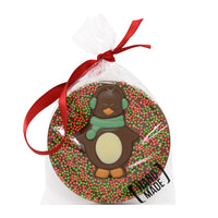 Milk Chocolate Christmas Penguin Tree Hanger_Green_wrapped