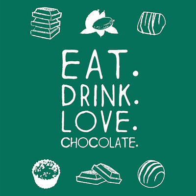 Eat drink love chocolate Greeting Card