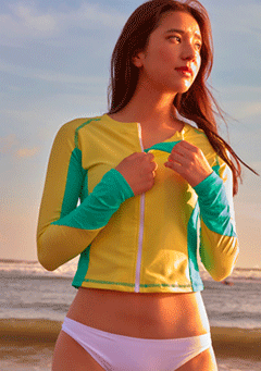 VIKINIVENDER swimwear Coloring Full Zip-Up Rashguard - Lemon