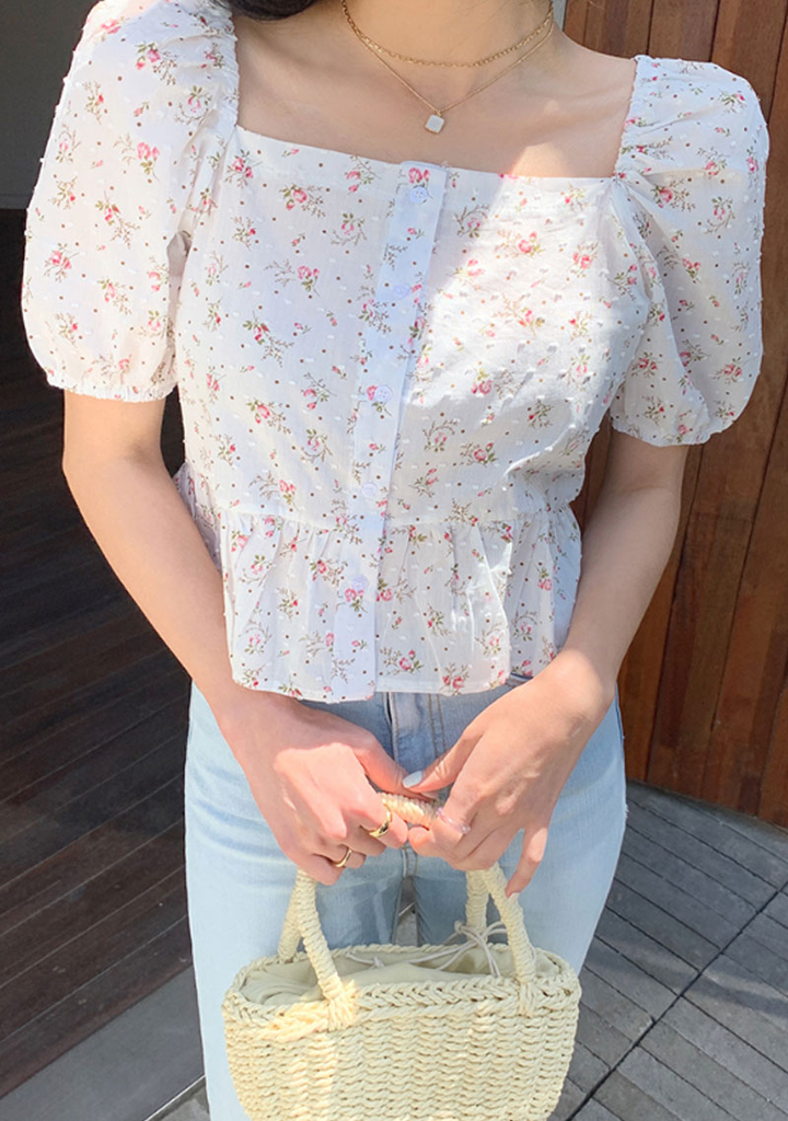 You Are My Lucky Flower Puff Blouse