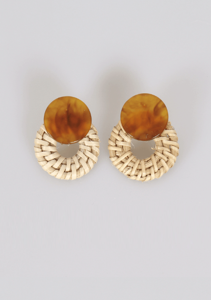 Natural Look Rattan Earrings