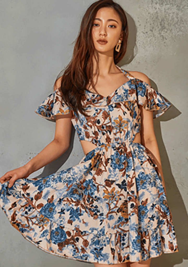 VIKINIVENDER dresses Antique Flower Off-Shoulder Dress