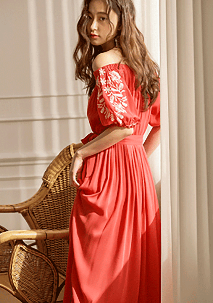 VIKINIVENDER dresses Puff Off-Shoulder Embroidery Dress
