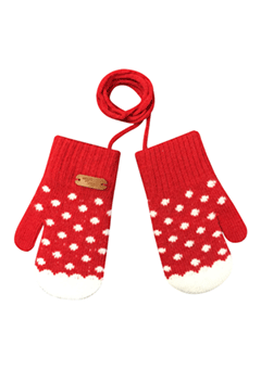 WIGGLEWIGGLE accessories Kids Gloves / Dancing Dot (Red)
