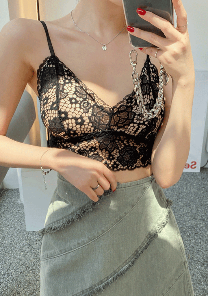 Oh So Pretty See-Through Lace Bra Top