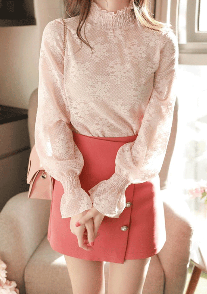 FIONA tops Pink Blush Lace Blouse