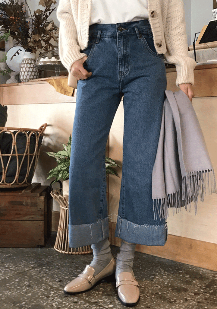 WITHIPUN jeans Soft Hearts Wide Legs Denim Jeans