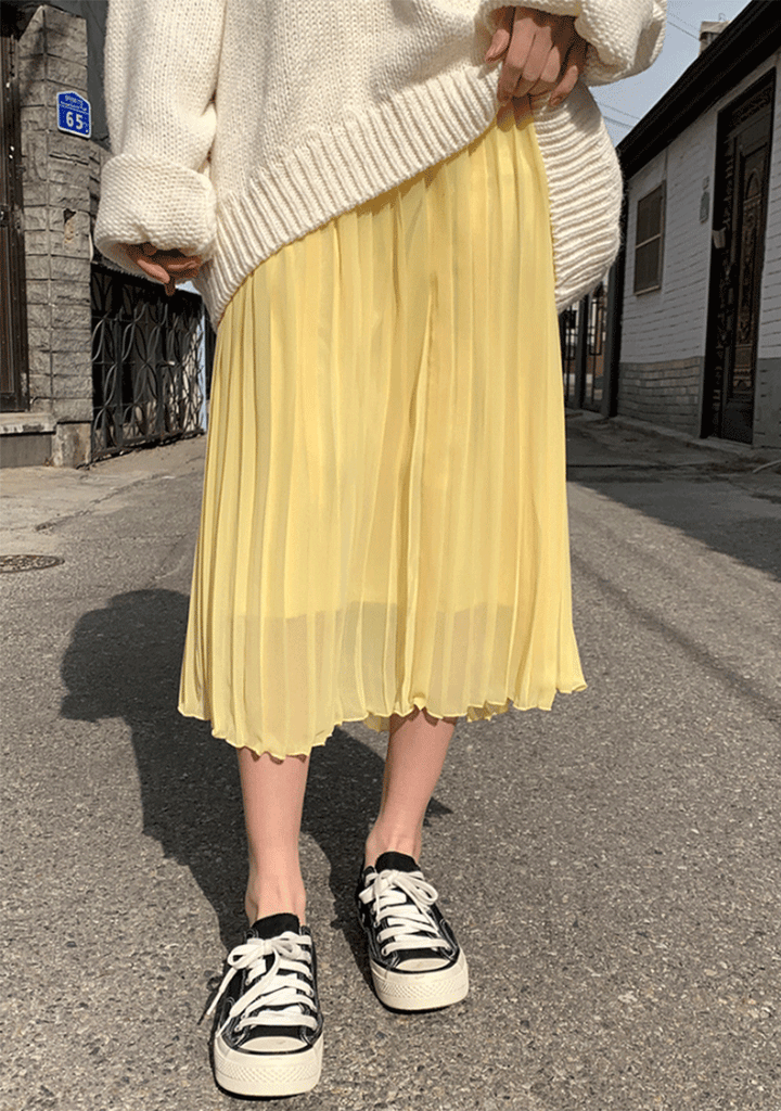 CHUU skirts Spring Pleats Long Skirt In 14Colors
