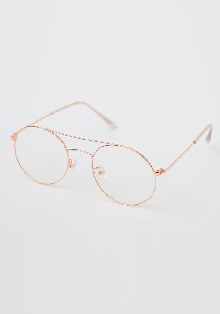 CHUU accessories Double Brow Round Glasses
