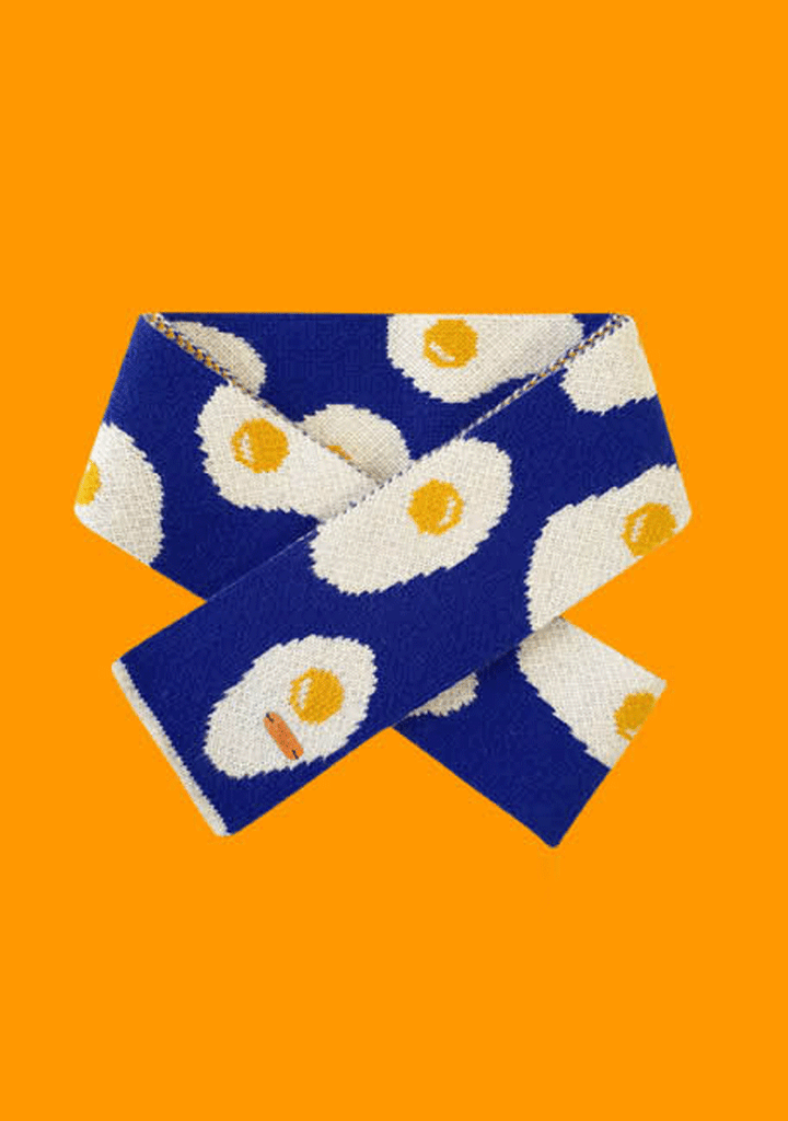 WIGGLEWIGGLE accessories Wool Scarf - Sunny Side Up (Navy)