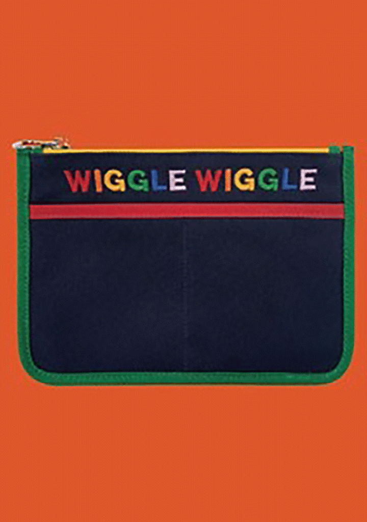 WIGGLEWIGGLE bags Canvas Pouch - Rainbow  Navy