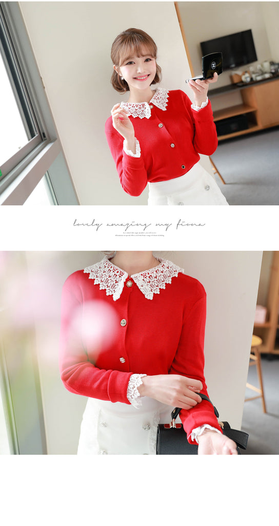 FIONA cardigans To The Lighthouse Lace Collar Cardigan