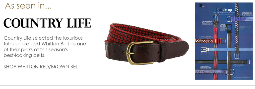As seen in Country Life - Whitton men's leather tubular braided belt