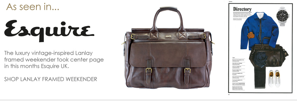 As seen in Esquire - Lanlay chestnut leather framed weeekender