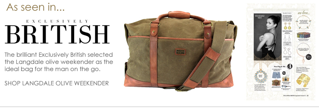 As seen in Exclusively British - Langdale olive leather and waxed canvas weekender