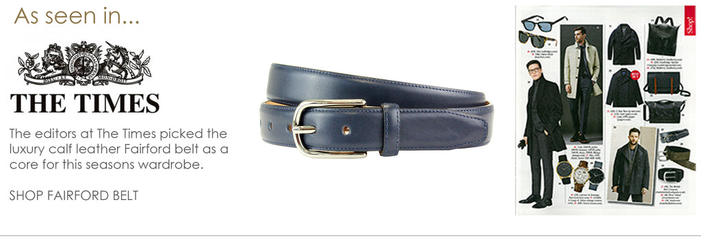 The Times - Men's bridle leather belt. Available in black, tan, rosewood, green and brown