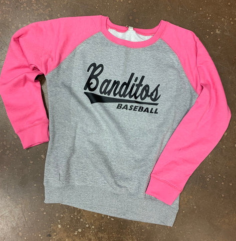 Ladies Pink/Heather Cozy Fleece Crew