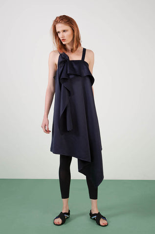 Ylin Lu Asymmetric Dress with Ruched Detail