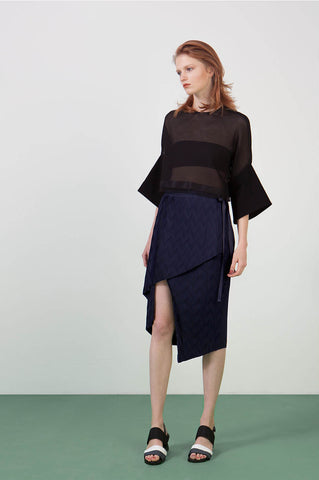 Ylin Lu Pleated Asymmetric Skirt