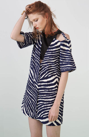 Ylin Lu Zebra Print Dress with Neon Trim