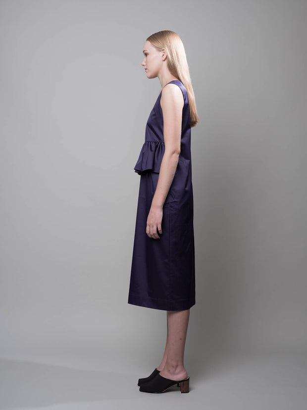 nana & bird Front Ruffles Dress in Navy