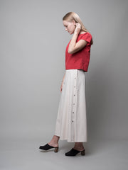 nana & bird Side Button Skirt in Oatmeal
