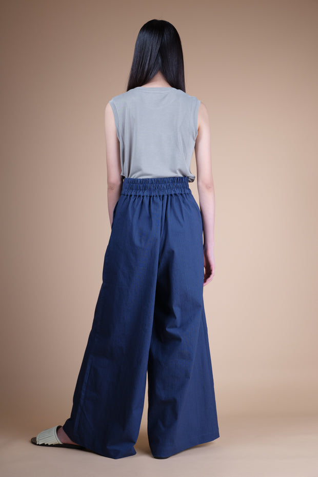 nana & bird Wide Legged Pants with Front Knot in Navy