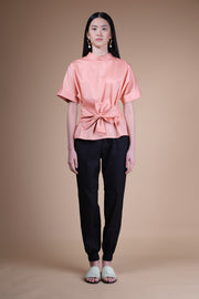 nana & bird Front Tie Top in Tango Pink