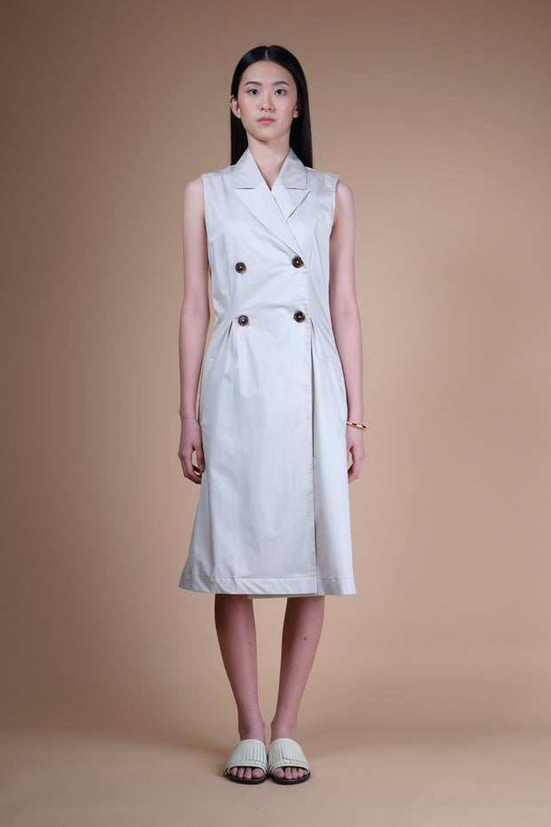 nana & bird Sleeveless Trench Dress in Eggshell