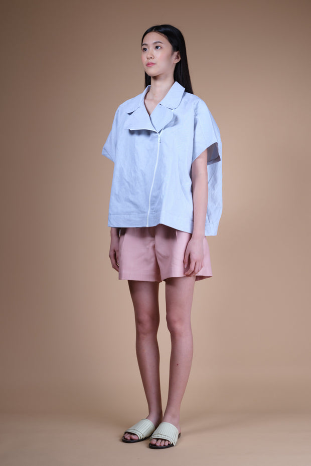 nana & bird Big Zip Shirt in Blue Stripes