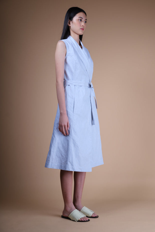 nana & bird Wrap Dress in Blue Stripes