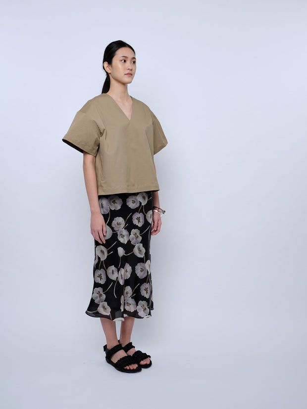 nana & bird Bell-Shaped Top in Khaki