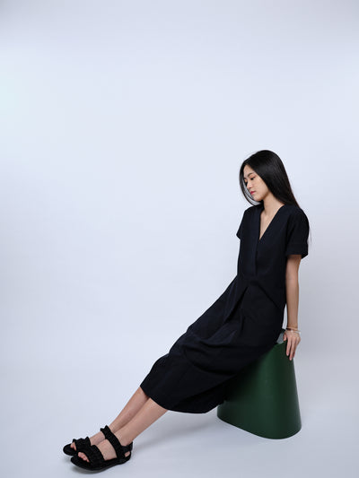 nana & bird Drop Waist Dress in Black