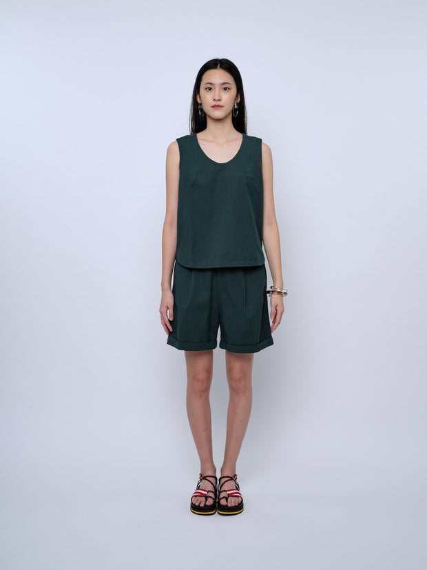 nana & bird Tank Top in Forest Green
