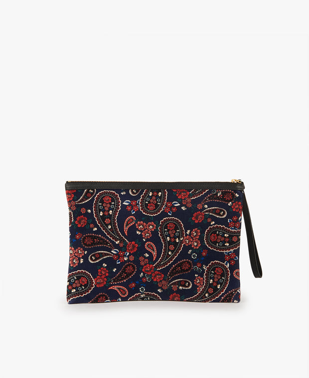 Wouf Blue Paisley Night Clutch