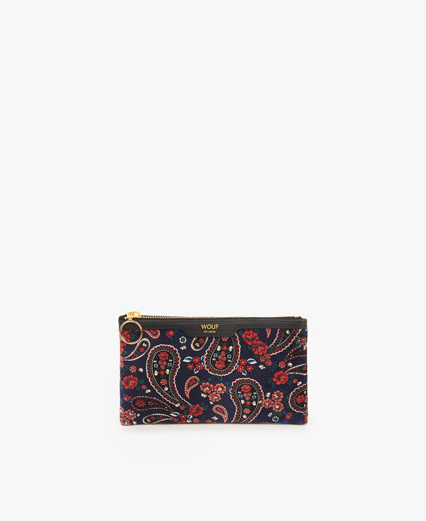 Wouf Blue Paisley Pocket Clutch
