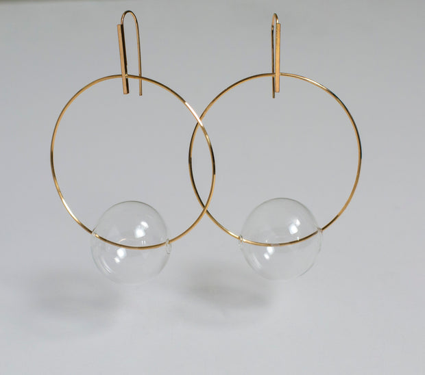 Annika Inez U-Hoop Earrings with Clear Ball