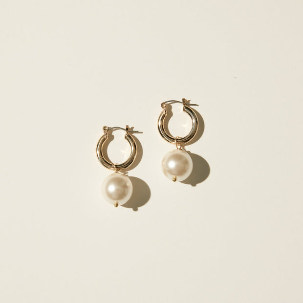 Maslo Tiny Latch Hoops with Round Pearl