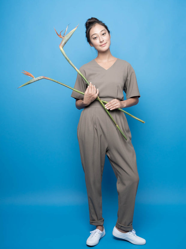nana & bird V Neck Jumpsuit in Olive