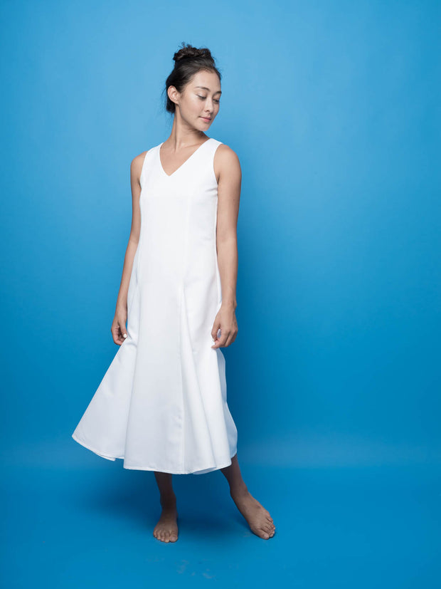 nana & bird Dress with Front Pleats in White
