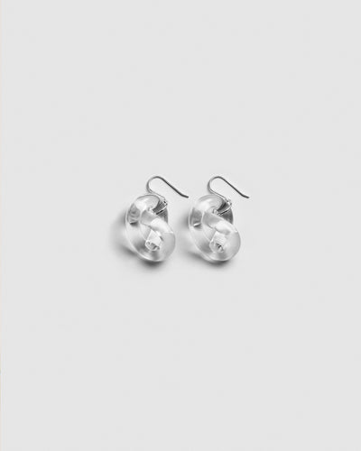 Corey Moranis Knot Earrings in Clear