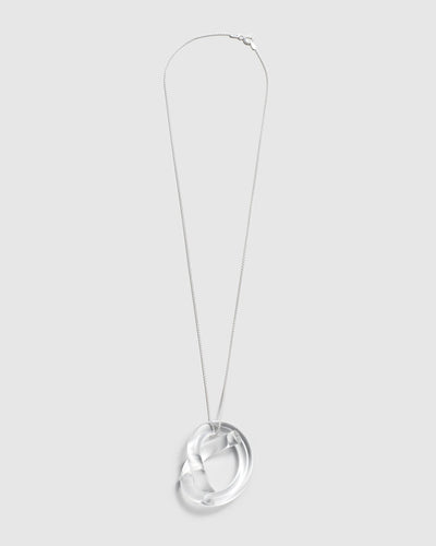 Corey Moranis Knot Necklace in Clear