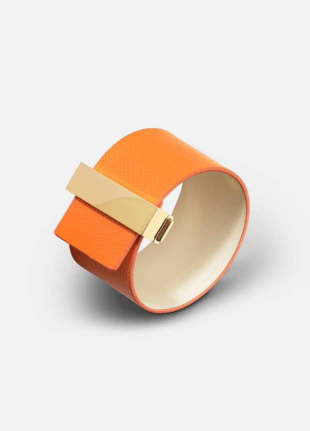 Skultuna Clasp Leather Bracelet - Orange