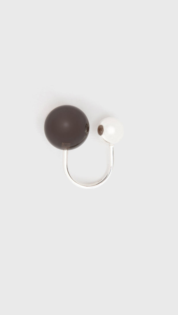 Saskia Diez Sling Ring No.2 Ag Silver Smoky Quartz