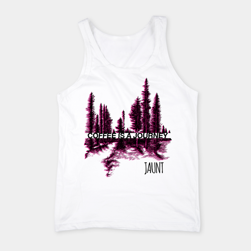 "White ""Journey"" Tank Top - Apparel - Jaunt Coffee Roasters"