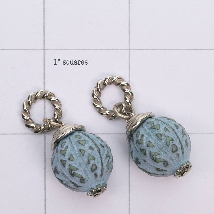 Mix and Match vintage carved patinated bead drop with silver findings