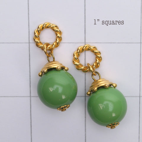 Mix and Match vintage green bead drop