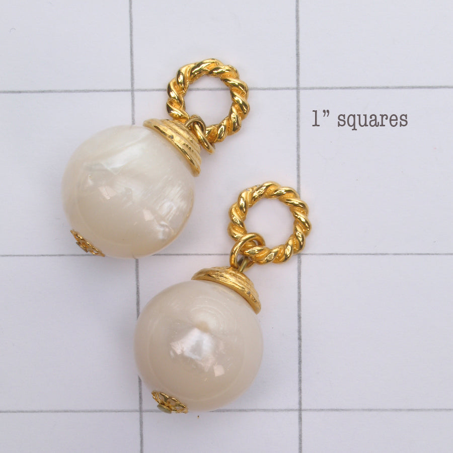 Mix and Match vintage mother of pearl resin bead drop